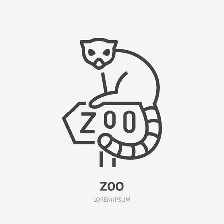 Lemur sitting on Zoo sign flat line icon. Animal park sign, wildlife logo.