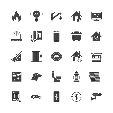 Iconos de glifo plano de servicios públicos. Recibo de alquiler, electricidad, agua, gas, calefacción de la casa, circuito cerrado de televisión, revisión, ilustraciones de vectores de basura. Rótulos para factura de servicios públicos. Pixel de silueta sólida perfecto 64x64. Foto de archivo