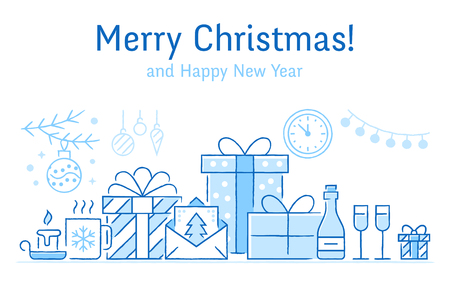 Merry Christmas banner with flat line icons. New Year greeting card - pine tree, presents, gift boxes, decoration vector illustrations. Blue thin sketch style signs of xmas dinner.