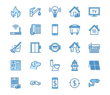 Icônes de ligne plate de services publics. Reçu de loyer, électricité eau, gaz, chauffage domestique, vidéosurveillance, révision, illustrations vectorielles de déchets. Facture de services publics de signes minces. Traits modifiables de 64 x 64 pixels parfaits