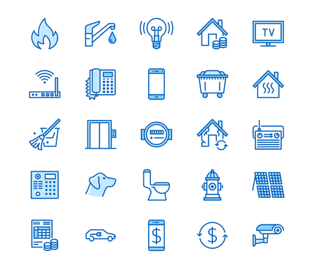 Public utilities flat line icons. Rent receipt, electricity water, gas, house heating, CCTV, overhaul, garbage vector illustrations. Thin signs utility invoice. Pixel perfect 64x64 Editable Strokes Ilustração