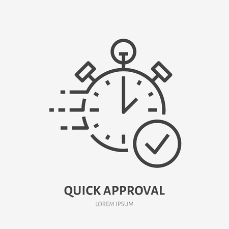 Stopwatch, clock flat line icon. Fast money transaction concept sign. Thin linear logo for financial services, quick loan approval, cash transfer, online payment, delivery vector illustration.
