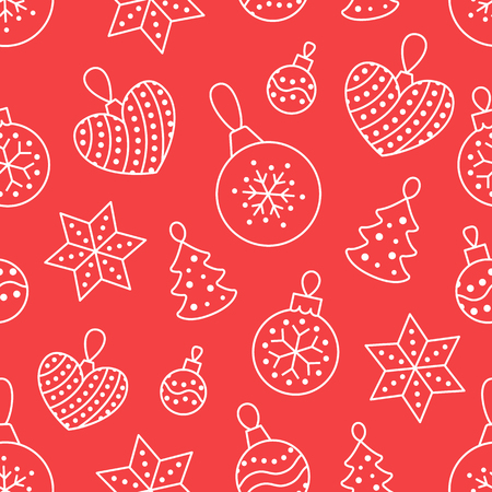 Seamless pattern with white toy balls, heart, star on red background. Flat line pine tree decoration icons, cute repeat wallpaper. Nice element for christmas banner, wrapping. New year ornament. Stock Illustratie