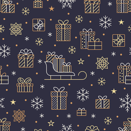 Seamless pattern with gold snowflakes and presents on dark purple background. Flat line gift boxes icons, cute repeat wallpaper. Nice element for christmas banner, wrapping. New year ornament.