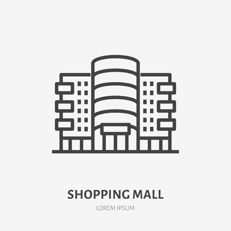 Shopping mall flat line icon. Vector thin sign of shop, store, commercial building rent logo. Supermarket exterior illustration.