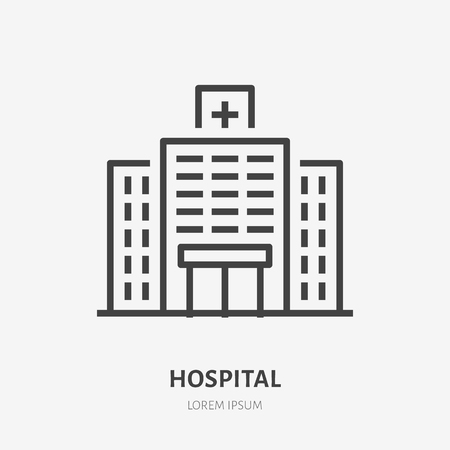 Hopital flat line icon. Vector thin sign of medical clinic, polyclinic logo. Health care building exterior illustration. Illustration