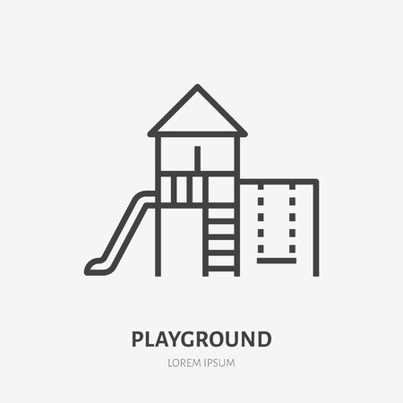 Kids playground flat line icon. Vector thin sign of park infrastructure, kindergarten logo. Outdoor activity illustration.