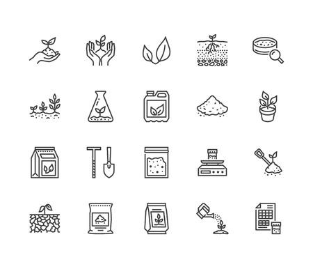 Ensemble d'icônes de ligne plate d'essai de sol. Agriculture, plantation d'illustrations vectorielles, mains tenant le sol au printemps, engrais végétal. Signes minces pour l'enquête agronomique. Pixel parfait 64x64. Coups modifiables.