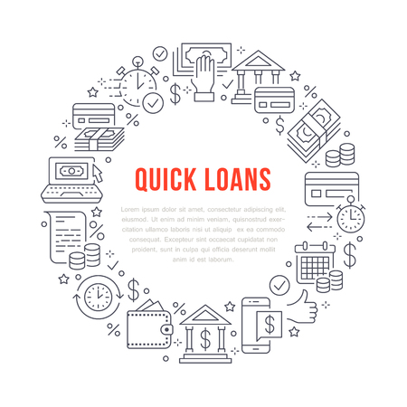 Finance, money loan circle template flat line icons. Quick credit approval, currency transaction, no commission, cash deposit atm vector brochure illustration. Thin signs for banking poster.