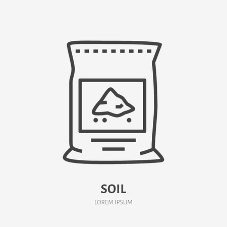 Plants soil in bag flat line icon. Vector thin sign of ground pachage, cement pack. Fertilizer illustration.