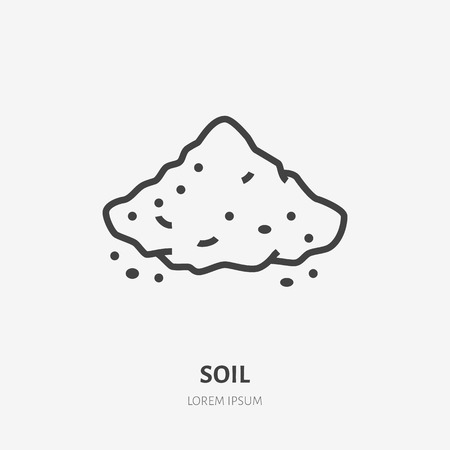 Soil flat line icon. Vector thin sign of ground, cement, sand. Loose substance illustration. Çizim