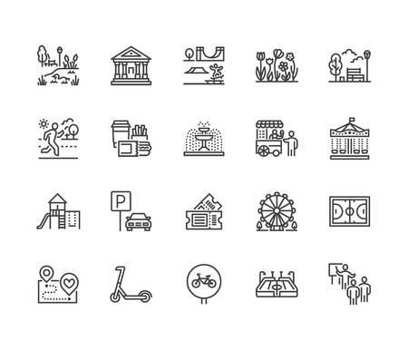 Park flat line icons set. Botanical garden, carousel, ferris wheel, museum, excursion, pond, street food, fountain vector illustrations. Thin signs for outdoors. Pixel perfect 64x64. Editable Strokes Vector Illustration