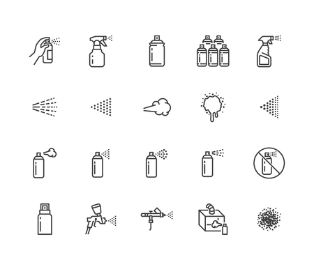 Spray może zestaw ikon płaskiej linii. Ręka z aerozolem, aerografem, malowaniem proszkowym, graffiti, ilustracjami wektorowymi efektu kaszlu. Cienkie znaki do dezynfekcji, czyszczenia. Idealny do pikseli 64x64. Edytowalny obrys