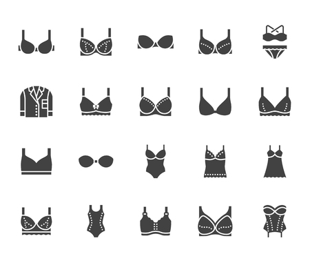 Lingerie flat glyph icons set. Bras types, woman underwear, maternity bra, chemise, pyjamas, swimwear, corset vector illustrations. Signs for clothes store. Solid silhouette pixel perfect 64x64. Banque d'images - 112838869