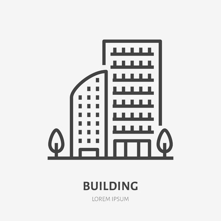 Apartment building flat line icon. Vector thin sign of multi-storey house, condo or office rent logo. Real estate illustration.