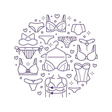 Lingerie circle poster with flat line icons of bra types, panties. Woman underwear background, vector illustration of brassiere, bikini, swimwear. Cute purple white concept for clothes store brochure.