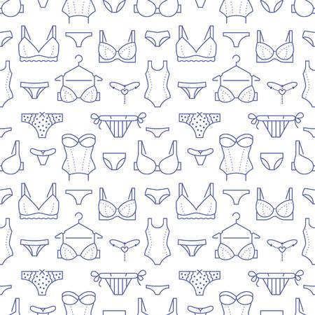 Modèle sans couture de lingerie avec des icônes de ligne plate de types de soutien-gorge, culottes. Fond de sous-vêtements femme, illustrations vectorielles de soutien-gorge, bikini, maillots de bain. Joli fond d'écran blanc violet pour magasin de vêtements.