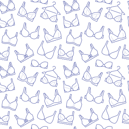 Lingerie seamless pattern with flat line icons of bra types. Woman underwear background, vector illustrations of brassiere. Cute purple white wallpaper for clothes store.