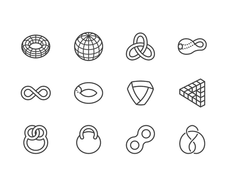 Geometric shapes flat line icons set. Topology figures sphere, torus, mobius strip, klein bottle vector illustrations. Thin signs for education, impossible object. Pixel perfect 64x64. Editable Stroke Vector Illustration