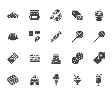 Sweet food flat glyph icons set. Pastry vector illustrations lollipop, chocolate bar, milkshake, cookie, birthday cake, marshmallow. Signs for desserts menu. Solid silhouette pixel perfect 64x64.