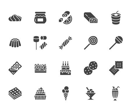 Zestaw ikon płaski glifów słodkie jedzenie. Ilustracje wektorowe ciasta lizak, tabliczka czekolady, koktajl mleczny, ciasteczko, tort urodzinowy, ptasie mleczko. Znaki do menu deserów. Solidna sylwetka pikselowa idealna 64x64.