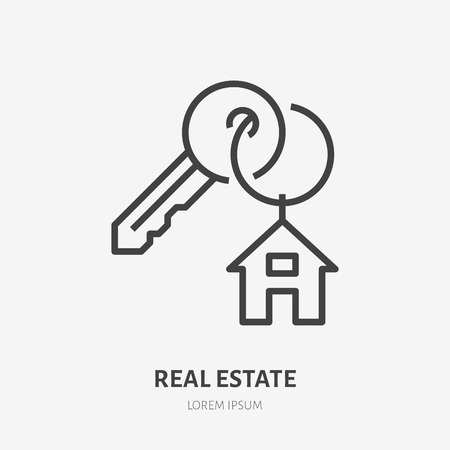 Key with trinket house on ring flat line icon. Vector thin sign of trinket, condo rent logo. Real estate illustration. Ilustração