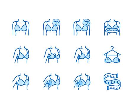Conjunto de iconos de línea plana de lencería. Ajuste del sujetador, medición con cinta métrica, cuerpo femenino en ilustraciones de vectores de ropa interior. Carteles finos para tienda de ropa. Pixel perfect 64x64. Trazos editables.