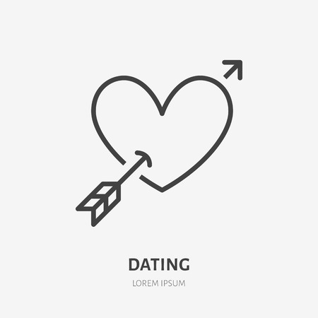 Heart with arrow flat line icon. Vector thin sign of love, dating site logo. Romantic date, valentines day illustration.