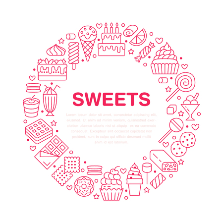 Sweet food round poster with flat line icons. Pastry vector illustrations - lollipop, chocolate bar, milkshake, cookie, birthday cake, donut, candy shop. Cute circle brochure for confectionery.