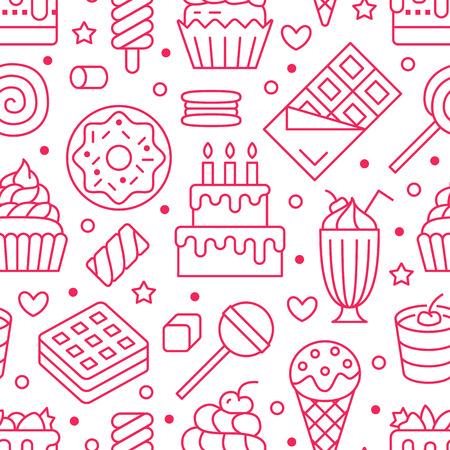 Patrón sin fisuras de alimentos dulces con iconos de línea plana. Ilustraciones vectoriales de pastelería: piruleta, barra de chocolate, batido, galleta, pastel de cumpleaños, tienda de dulces. Lindo fondo blanco rosa para confitería.