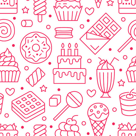 Sweet food seamless pattern with flat line icons. Pastry vector illustrations - lollipop, chocolate bar, milkshake, cookie, birthday cake, candy shop. Cute pink white background for confectionery.