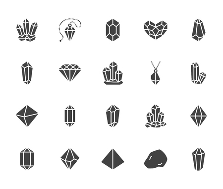Crystals flat glyph icons set. Mineral rock, diamond shape, salt, abstract gemstone, magic crystal vector illustrations. Signs for geology or jewelry store. Solid silhouette pixel perfect 64x64.