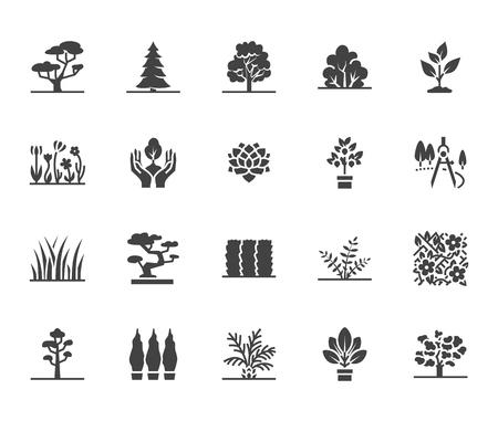 Bäume flache Glyphensymbole gesetzt. Pflanzen, Landschaftsgestaltung, Tannenbaum, Sukkulente, Privatsphärenstrauch, Rasengras, Blumenvektorillustrationen. Schilder für den Gartenladen. Solide Silhouette Pixel perfekt 64x64. Vektorgrafik