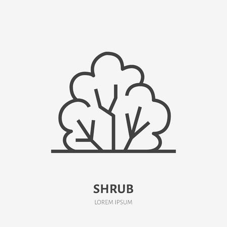 Bush flat line icon. Vector thin sign of park plant, ecology logo. Nature illustration, shrub symbol. Иллюстрация