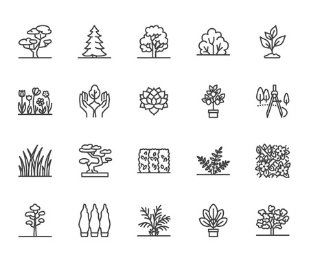 Trees flat line icons set. Plants, landscape design, fir tree, succulent, privacy shrub, lawn grass, flowers vector illustrations. Thin signs for garden store. Pixel perfect 64x64. Editable Strokes. Standard-Bild - 114661608