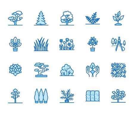 Conjunto de iconos de línea plana de árboles. Plantas, diseño de paisaje, abeto, suculento, arbusto de privacidad, césped, flores ilustraciones vectoriales. Carteles finos para tienda de jardinería. Pixel perfect 64x64. Trazos editables. Ilustración de vector