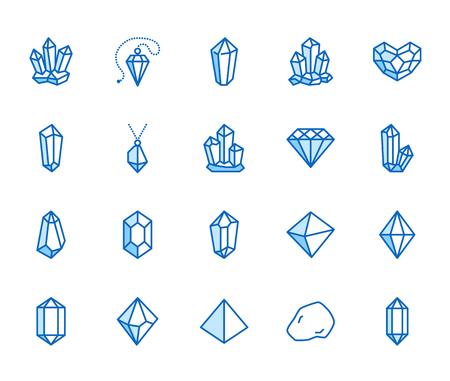 Kristalle flache Linie Icons Set. Mineralgestein, Diamantform, Salz, abstrakter Edelstein, magische Kristallvektorillustrationen. Dünne Schilder für Geologie oder Juweliergeschäft. Pixelperfekte 64x64. Bearbeitbare Striche. Vektorgrafik