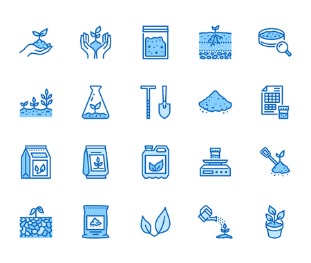 Soil testing flat line icons set. Agriculture, planting vector illustrations, hands holding ground with spring, plant fertilizer. Thin signs for agrology survey. Pixel perfect 64x64. Editable Strokes. Illustration
