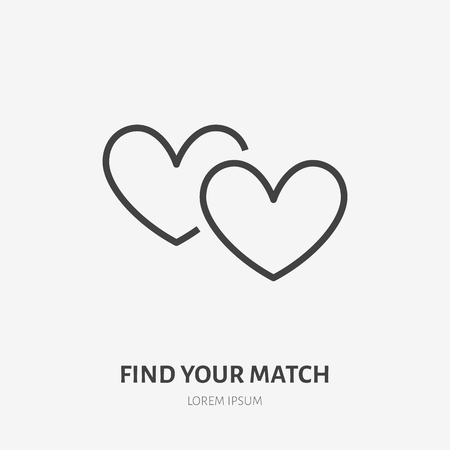 Two hearts flat line icon. Vector thin sign of love, dating site logo. Romantic date, valentines day illustration.
