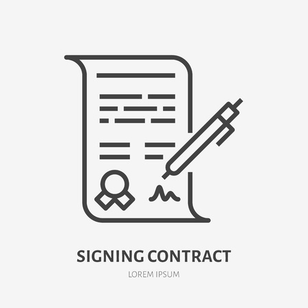 Signing contract flat line icon. Signature sign. Thin linear logo for financial services, document with pen vector illustration. Stock Illustratie