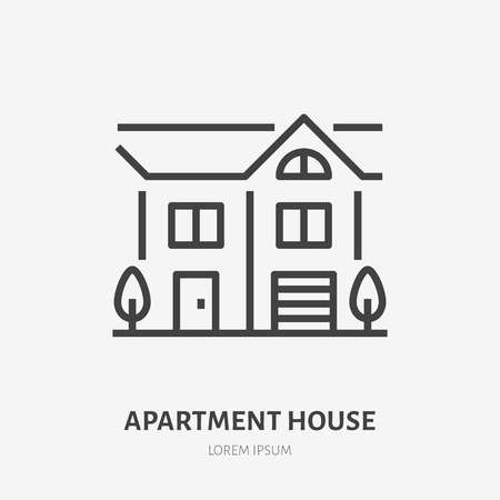 Country house flat line icon. Vector thin sign of summer cottage with trees, suburban property logo. Real estate rent illustration.