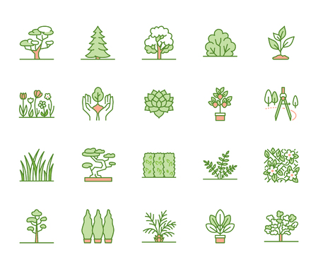 Trees flat line icons set. Plants, landscape design, fir tree, succulent, privacy shrub, lawn grass, flowers vector illustrations. Thin green signs for garden store.