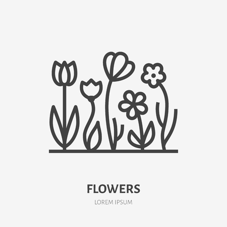 Spring flowers flat line icon. Vector thin sign of gardening, planting, ecology logo. Landscaping illustration, organic emblem.
