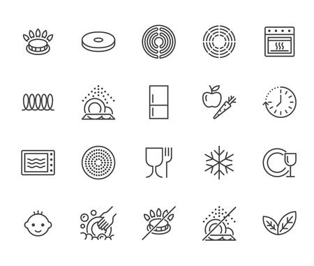 Conjunto de iconos de línea plana de utensilios. Quemador de gas, estufa de inducción, vitrocerámica, revestimiento antiadherente, microondas, lavavajillas ilustraciones vectoriales. Señales finas para sartén, platos. Pixel perfect 64x64. Trazos editables. Ilustración de vector