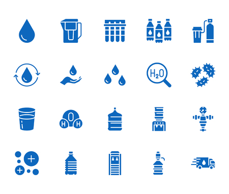 Water drop flat glyph icons set. Aqua filter, softener, ionization, disinfection, glass vector illustrations. Signs for bottle delivery. Solid silhouette pixel perfect 64x64.