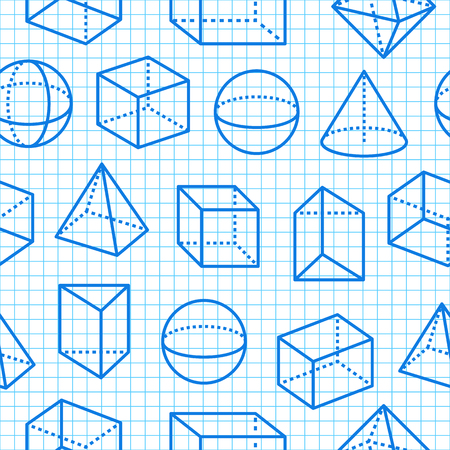 Geometric shapes seamless pattern flat line icons. Modern abstract background for geometry, math education. Mathematics figures on blue grid notebook - cube, sphere, cone, prism vector illustrations. Vector Illustration