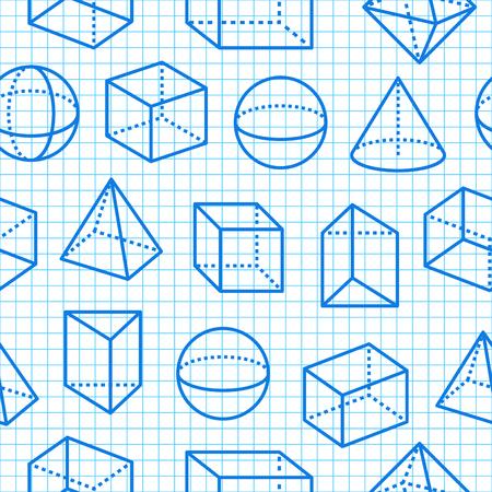 Geometrische Formen nahtlose Muster flache Linie Symbole. Moderner abstrakter Hintergrund für Geometrie, Mathematikunterricht. Mathematikfiguren auf blauem Rasternotizbuch - Würfel, Kugel, Kegel, Prismenvektorillustrationen. Vektorgrafik