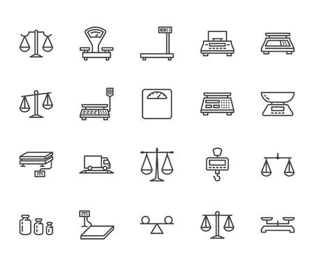 Flache Linie Icons ausbalancieren. Gewichtsmesswerkzeuge, Diätwaagen, Handel, elektronische, industrielle Kalibrierungsvektorillustrationen. Dünnes Zeichengerechtigkeitskonzept. Pixelperfekter 64x64 bearbeitbarer Strich