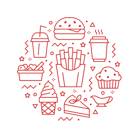 Fast food circle illustration with flat line icons. Thin vector signs for restaurant menu poster - burger, french fries, soda, salad, cheesecake, coffee, ice cream. Junk food concept. Illustration