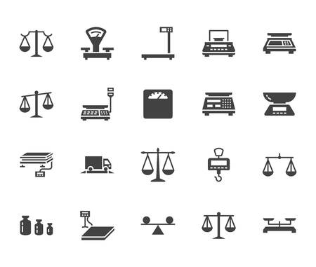 Balance flat glyph icons set. Weight measurement tools, diet scales, trade, electronic, industrial scale calibration vector illustrations. Sign justice concept. Solid silhouette pixel perfect 64x64. Illustration
